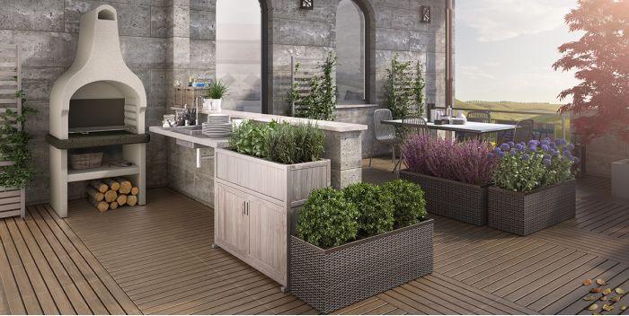 Come arredare un terrazzo chic con uno spazio per cucinare all ...