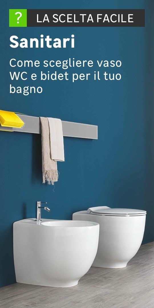 Dettaglio di un wc e di un bidet, entrambi in ceramica