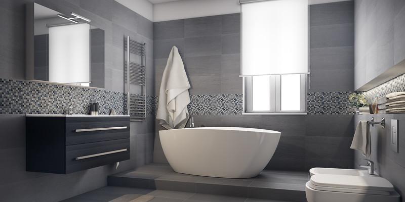 ... un bagno moderno grande con vasca e doccia fai da te  Leroy Merlin