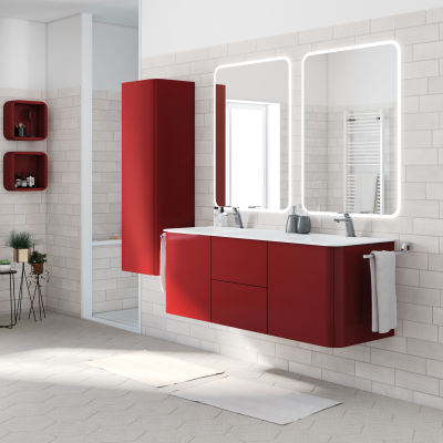 Mobile bagno liverpool rosso l 140 cm prezzi e offerte online - Mobile bagno rosso ...