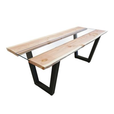 Tavolo Vertigo legno e vetro L 200 x P 85 x H 80 cm grezzo: prezzi e ...