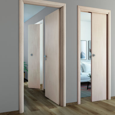 Porta da interno battente notting hill pino sbiancato 80 x h 210 cm reversibile prezzi e - Porte da interno ikea ...