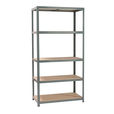 Scaffale metallo grigio Spaceo 5 ripiani in legno L 100 x P 50 x H ...