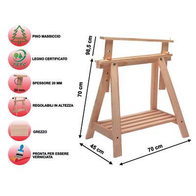 Cavalletto pino archi tec h 70 x p 70 x l 45 cm grezzo for Cavalletti in legno leroy merlin