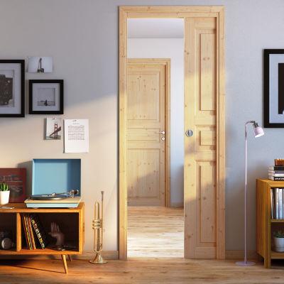 Porta da interno battente beethoven grezza 80 x h 210 cm reversibile prezzi e offerte online - Porte interno leroy merlin ...