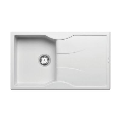 Lavello incasso Aeolia bianco L 86 x P 50 cm 1 vasca + gocciolatoio ...