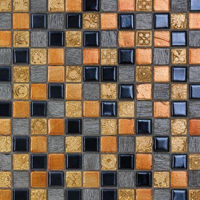 Mosaico Sun & dark 30 x 30 cm nero, arancione, grigio, oro: prezzi ...