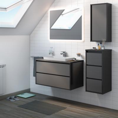 Mobile bagno loto grigio antracite con frontale in vetro l 90 cm prezzi e offerte online - Mobili bagno in vetro ...