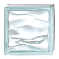 Vetromattone Agua Caribe celeste ondulato 19 x 19 x 8 cm