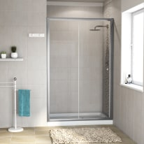 Porta doccia scorrevole Dado 117-120, H 185 cm cristallo 5 mm trasparente/silver