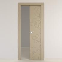 Porta da interno scorrevole Flower taupe tortora 80 x H 210 cm reversibile