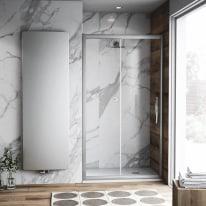 Porta doccia scorrevole Namara 105-110, H 195 cm cristallo 8 mm trasparente/silver