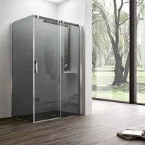 Porta doccia scorrevole Master 152,5-155, H 196 cm vetro temperato 8 mm grigio europa/argento lucido