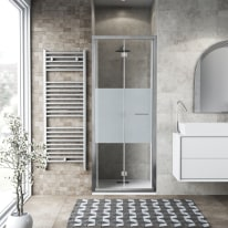 Porta doccia Record 67-71, H 195 cm vetro temperato 6 mm serigrafato/silver lucido