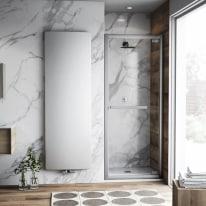 Porta doccia battente Namara 85-90, H 195 cm cristallo 8 mm trasparente/silver