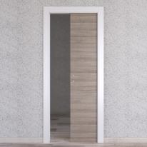 Porta da interno scorrevole One grigio/bianco 80 x H 210 cm reversibile