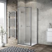 Doccia con porta pieghevole e lato fisso Record 82 - 86 x 77 - 79 cm, H 195 cm vetro temperato 6 mm satinato/silver lucido