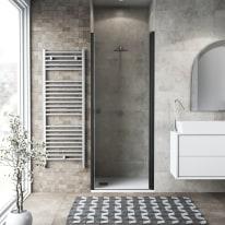 Porta doccia battente Neo 67-71, H 201,7 cm vetro temperato 6 mm trasparente/nero