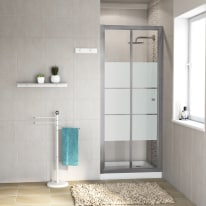 Porta doccia Dado 67-70, H 185 cm cristallo 5 mm serigrafato/silver