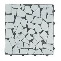 Piastrella sassi 30 x 30  cm x 28  mm bianco