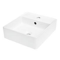 Lavabo da appoggio quadrato Easy L 41,5 x P 37 x H  12 cm bianco