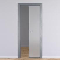Porta per ufficio scorrevole Office vetro temperato bianco satinato 80 x H 210 cm reversibile