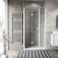 Doccia con porta pieghevole lato fisso in linea Neo 97 - 101 + 40 cm, H 201,7 cm vetro temperato 6 mm trasparente/bianco opaco