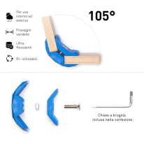 Connettore Playwood 105° per pannelli in legno in plastica hi-tech blu confezione 4 pezzi