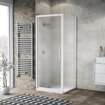 Doccia con porta battente e lato fisso Record 72 - 76 x 77 - 79 cm, H 195 cm vetro temperato 6 mm satinato/bianco opaco