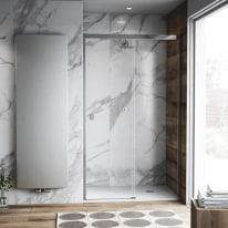 Porta doccia scorrevole Neo Plus 127-129, H 200 cm vetro temperato 6 mm trasparente/cromo PVD