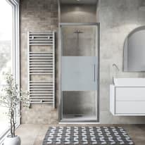 Porta doccia battente Record 67-71, H 195 cm vetro temperato 6 mm serigrafato/silver lucido