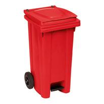 Bidone Carrellato e apertura a pedale rosso satinato 120 L