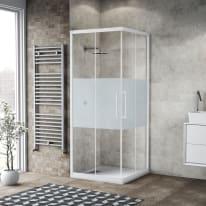 Box doccia scorrevole Record 80 x 80, H 195 cm cristallo 6 mm satinato/bianco opaco