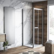 Doccia con porta pieghevole e lato fisso Namara 85 - 90 x 77.5 - 79,5 cm, H 195 cm cristallo 8 mm trasparente/silver