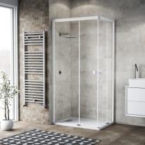 Box doccia scorrevole Neo 67-69 x 97-99, H 200 cm vetro temperato 6 mm trasparente/bianco opaco