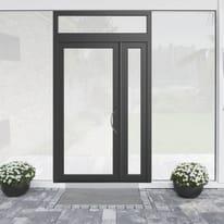 portoncino d'ingresso alluminio Condo19 grigio L 132 x H 250 sx