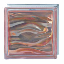 Vetromattone Agua ambra ondulato effetto acqua perlato 19 x 19 x 8 cm