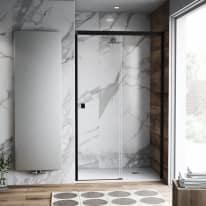 Porta doccia scorrevole Neo Plus 147-149, H 200 cm vetro temperato 6 mm trasparente/nero