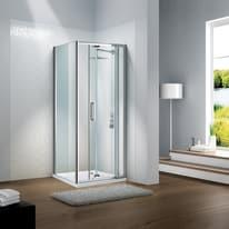 Porta doccia battente Slimline 80-90, H 195 cm cristallo 6 mm trasparente/silver