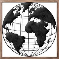 Quadro in metallo The globe 40x40