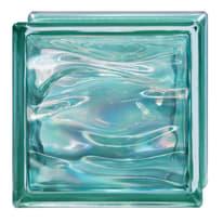 Vetromattone Agua Perla verde ondulato effetto acqua perlato 19 x 19 x 8 cm