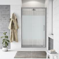 Porta doccia scorrevole Quad 147.5-150,5, H 190 cm cristallo 6 mm serigrafato/silver
