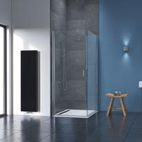 Box doccia battente Cara 76.5-79 x 76,5-79, H 195 cm laminato 8 mm trasparente/silver