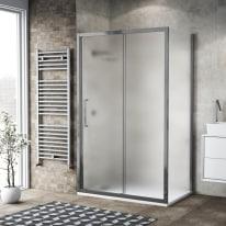 Doccia con porta scorrevole e lato fisso Record 132 - 136 x 77 - 79 cm, H 195 cm vetro temperato 6 mm satinato/silver lucido