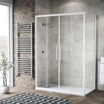 Doccia con porta scorrevole e lato fisso Record 152 - 156 x 77 - 79 cm, H 195 cm vetro temperato 6 mm trasparente/bianco opaco