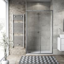 Porta doccia scorrevole Record 147-151, H 195 cm vetro temperato 6 mm trasparente/silver lucido