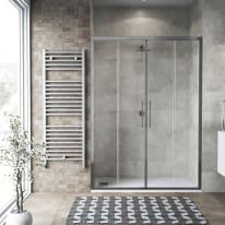 Porta doccia scorrevole Record 162-166, H 195 cm vetro temperato 6 mm trasparente/silver lucido
