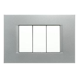 Placca 3 moduli FEB Flat argento