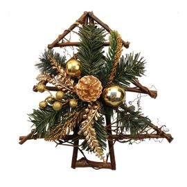 Fuoriporta albero di Natale intrecciato con decori oro, 30 cm