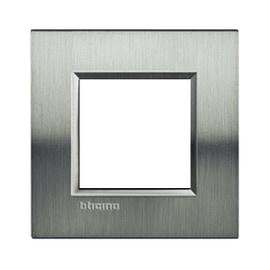 Placca 2 moduli BTicino Livinglight acciao spazzolato